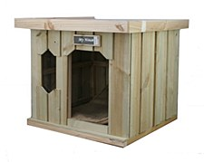 My House Treated Pine with Flat Tin Roof Medium Dog Kennel