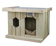 My House Treated Pine with Flat Tin Roof Small Dog Kennel