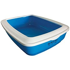Scream Rectangular Blue Cat Litter Tray