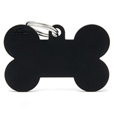 My Family Basic Bone Large Black Pet Tag