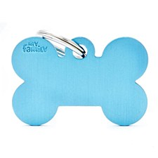 My Family Basic Bone Large Light Blue Pet Tag