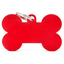 My Family Basic Bone Large Red Pet Tag