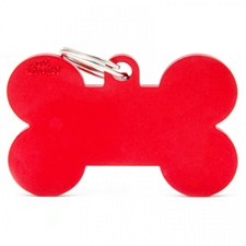 My Family Basic Bone Extra Large Red Pet Tag