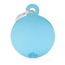 My Family Basic Circle Small Light Blue Pet Tag