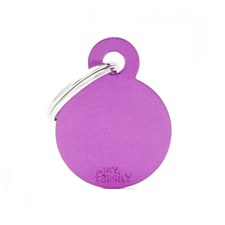 My Family Basic Circle Small Purple Pet Tag
