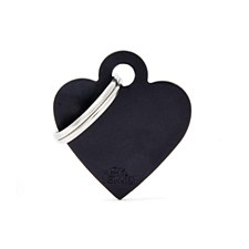 My Family Basic Heart Small Black Pet Tag