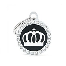My Family Glam Crown Black Pet Tag