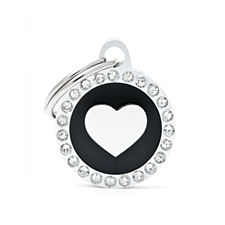 My Family Glam Heart Black Pet Tag