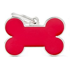 My Family Handmade Bone Large Red Pet Tag
