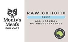 Montys RAW 801010 Beef 250g Wet Cat Food
