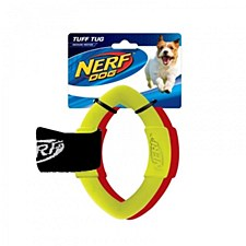Nerf 2 Ring Strap Tug Dog Toy Medium Red