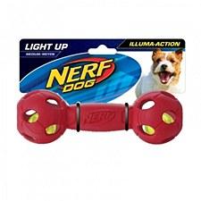 Nerf LED Barbell Dog Toy Medium Red