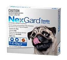 NexGard Flea and Tick Chew for Dogs 4.1kg to 10kg (3 Pack)