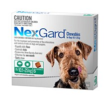 NexGard Flea and Tick Chew for Dogs 10.1kg to 25kg (6 Pack)