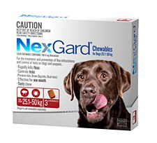 NexGard Flea and Tick Chew for Dogs 25.1kg to 50kg (3 Pack)