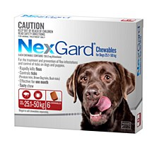 NexGard Flea and Tick Chew for Dogs 25.1kg to 50kg (6 Pack)