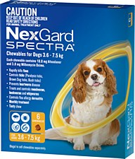 NexGard Spectra Wormer and Flea Chew for Dogs 3.6kg to 7.5kg (6 Pack)