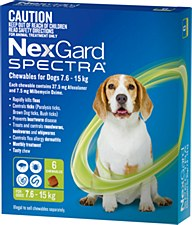 NexGard Spectra Wormer and Flea Chew for Dogs 7.6kg to 15kg (6 Pack)