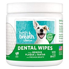 Tropiclean Fresh Breath Dental Wipes for Dogs (50 Pack)