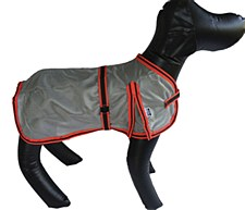 Wild Dogz Dog Coat Mesh Insect Control Silver & Red Medium