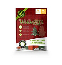 Whimzees Christmas Tree & Snowman Dental Treats for Medium Dogs 420g (14 Pack)