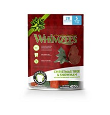 Whimzees Christmas Tree & Snowman Dental Treats for Small Dogs 420g (28 Pack)