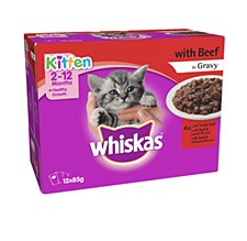 Whiskas Kitten Beef in Gravy Pouches 12x85g Wet Cat Food