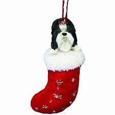 Swish Collection Christmas Tree Decoration Shih Tzu Black & White 8cm