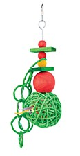 Kazoo Wicker Balls with Rings Christmas Bird Toy