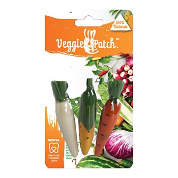 Veggie Patch Carrot, Corn & Parsnip Small Pet Chew Toys (3 Pack)