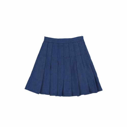 DENIM PLEATED SKIRT