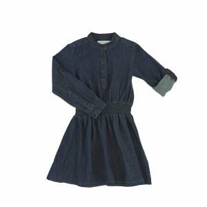 DENIM GATHERED WAIST DRESS