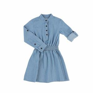 DENIM GATHERED WAIST DRESS