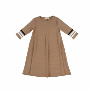 RIBBED STRIPE SLEEVE DRESS
