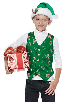 Holiday Christmas Child Green Vest And Hat Set