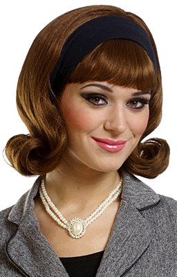 60's Headband Brown Flip Wig