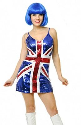 British Flag Adult Sequin Dress