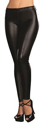 Liquid Metal Black Footless Leggings