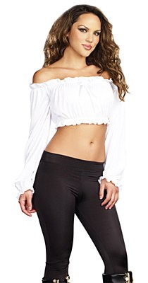 Pretty Peasant White Adult Crop Top