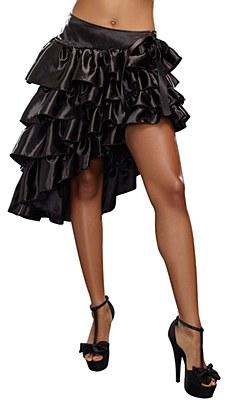 Black Satin Ruffled / Layered Skirt