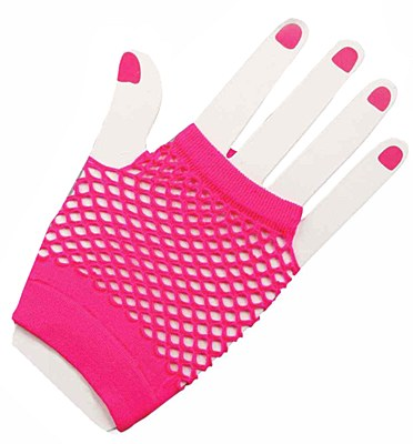 Short Fingerless Pink Fishnet Gloves
