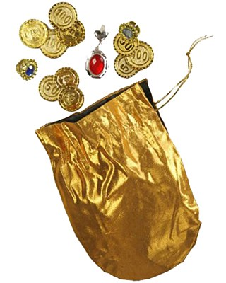 Gold Coin And Jewel Pouch