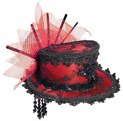 Mini Lace Red And Black Top Hat