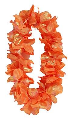 Pearlized Flower Petal Lei - Orange