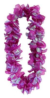 Pearlized Flower Petal Lei - Purple