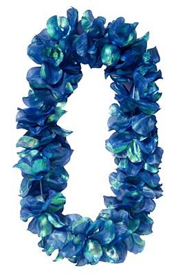 Pearlized Flower Petal Lei - Blue