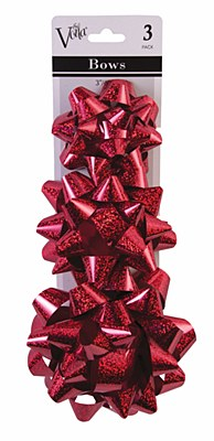 Metallic Star 3 Gift Bow Set - Red
