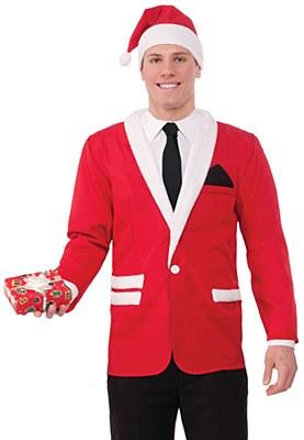 Santa Men's Blazer Jacket And Hat Set