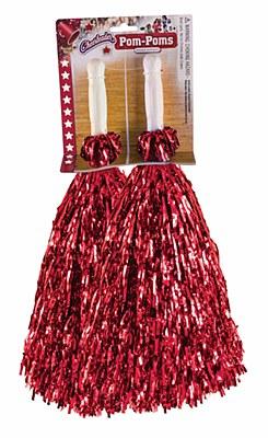 Cheerleader Red Tinsel Metallic Pom Poms
