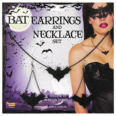 Bat Earring And Necklace Set